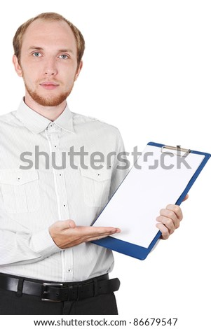 businessman in white shirt showing document isolated