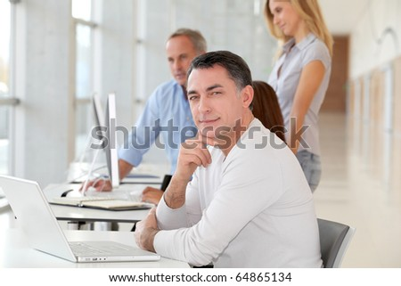 Businessman in work meeting