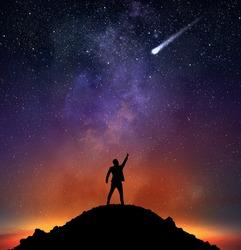 Businessman indicate a falling star