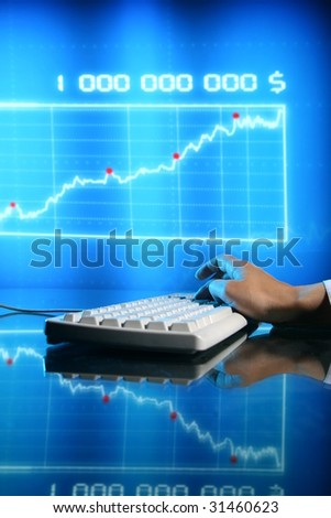 businessman input finance data