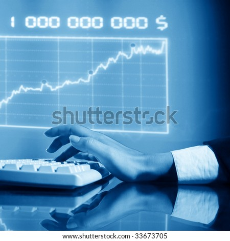 businessman input finance data