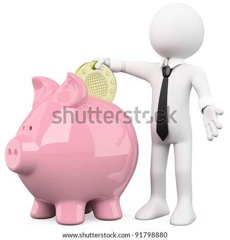 Businessman inserting a coin in a pink piggy bank