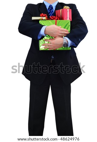 Businessman is carrying a bunch of gifts
