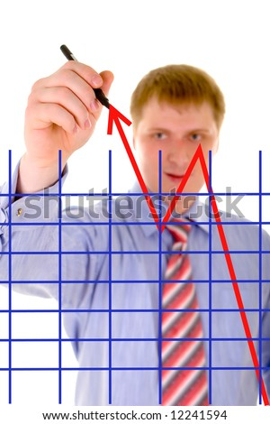 businessman is drawing a arrow of success - stock photo