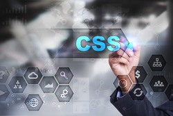 Businessman is drawing on virtual screen. css concept.