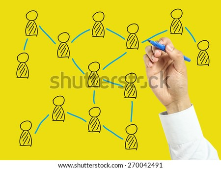 Businessman is drawing social network concept with marker on transparent board with yellow background. #270042491