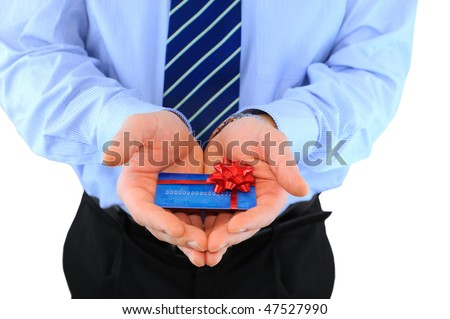 Businessman is giving a credit card