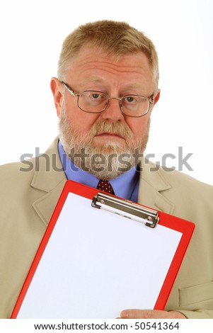 Businessman is holding a clipboard, isolated on white background.