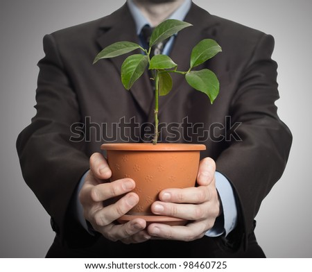 Businessman is holding a plant in pot. On dark gradient background