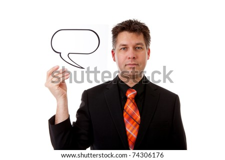 Businessman is holding a text balloon over white background