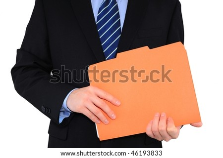 Businessman is holding an orange folder with paperwork isolated over white