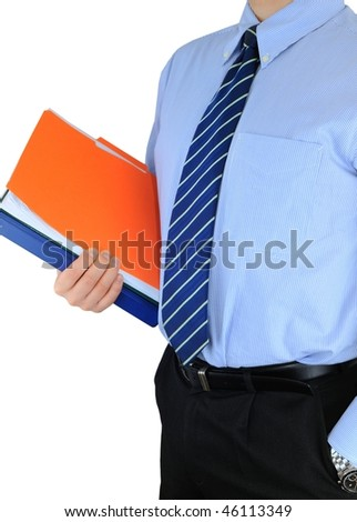 Businessman is holding colored folders and paperwork over white