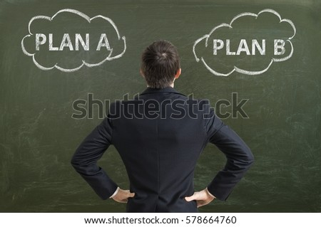Businessman is making decision and selecting best business strategy.