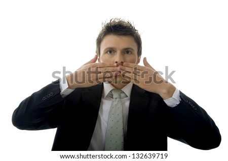 Businessman is making See No Evil, Hear No Evil, Speak No Evil. - stock photo