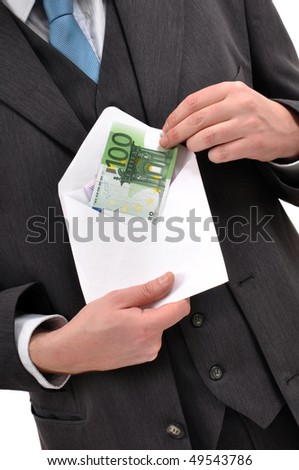 Businessman is paying with euro banknotes, financial background