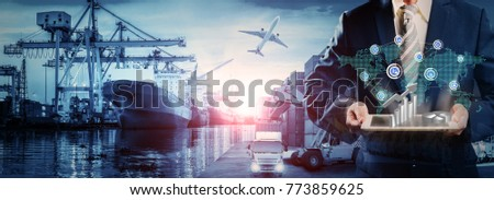 Businessman is pressing button on touch screen interface in front Logistics Industrial Container Cargo freight ship for Concept of fast or instant shipping, Online goods orders worldwide #773859625