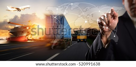 Businessman is pressing button on touch screen interface, Truck transport container on the road to the port, for Logistic Import Export concept, Internet of Things concept