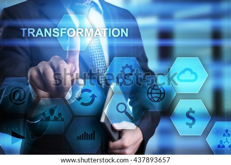Businessman is pressing on the virtual screen and select Transportaion. #437893657