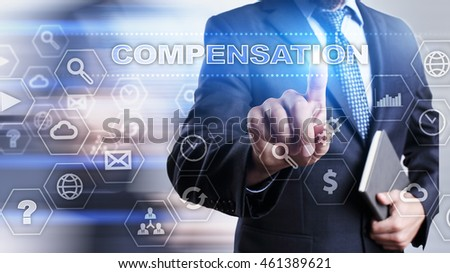 "Businessman is pressing on the virtual screen and selecting ""Compensation"". #461389621"
