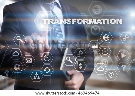 """Businessman is pressing on the virtual screen and selecting """"Transformation"""". #469469474"""