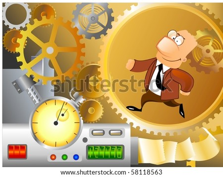 Businessman is running inside corporate machinery.