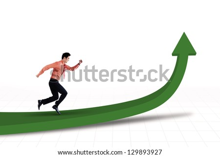 Businessman is running toward the goal on white background