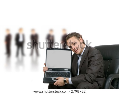 businessman is showing his blank laptop screen for your text or graphic to put in - stock photo