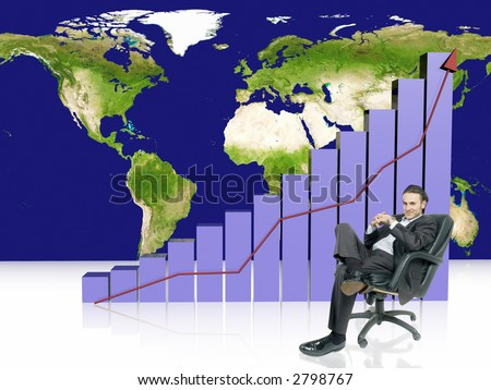 businessman is sitting in front of increasing profits graph