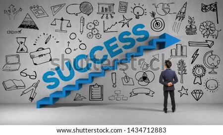 Businessman is standing in front of a wall with stairs and the inscription Success as a success concept (3d rendering)