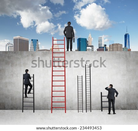 Businessman is standing on the top of a building. A concept of competition and problem solving. City view background.