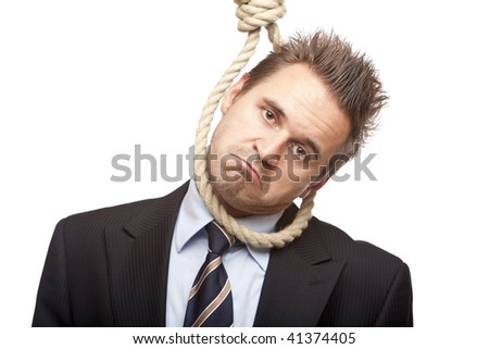 Businessman is standing with head in gibbet sling, because of financial crisis. Isolated on white.