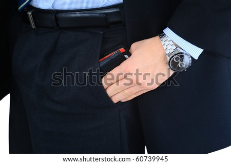 Businessman is taking his wallet out of the pocket