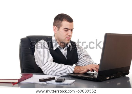 Businessman isolate on white background - stock photo