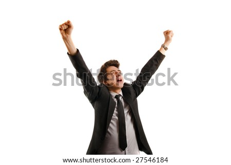 Businessman isolated on white background, rejoicing