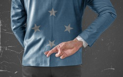 Businessman Jacket with Flag of Federate States of Micronesia with his fingers crossed behind his back