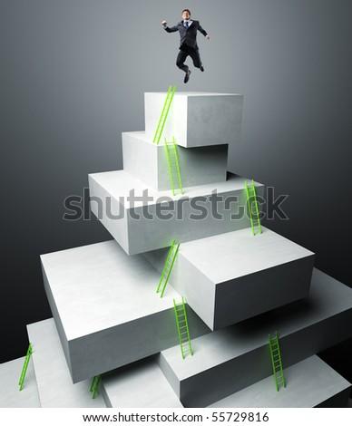 businessman jump over 3d virtual tower