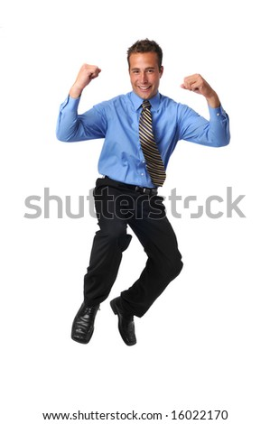 Businessman jumping and celebrating isolated on a white background