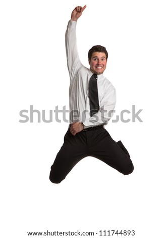 Businessman   Jumping cheerfully on Isolated White Background