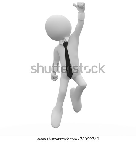 Businessman jumping for joy, with the thumb up