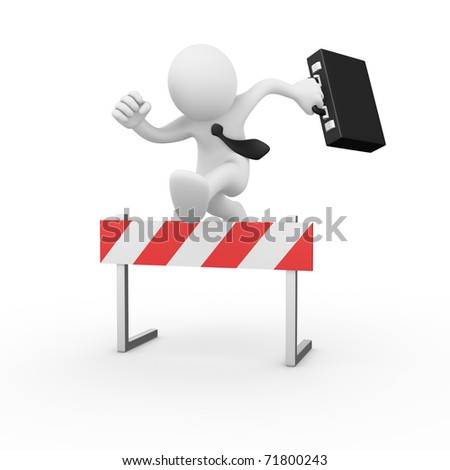 Businessman jumping over a hurdle obstacle