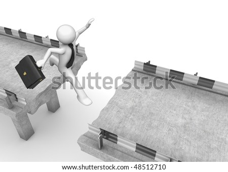 Businessman jumping over the road gap (3d isolated on white background business characters series)