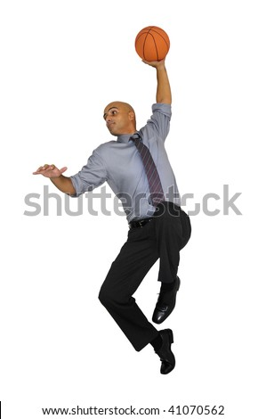 Businessman jumping with basketball for a dunk isolated in white