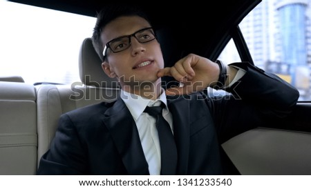 Businessman late for important dinner stuck in traffic jam, megalopolis life #1341233540