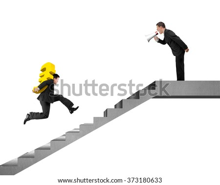 Businessman, Leader, boss holding speaker shouting at employee carrying Euro running on concrete stairs