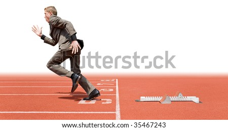 Businessman leaving the starting blocks - a metaphor of starting a new business, off on a good start