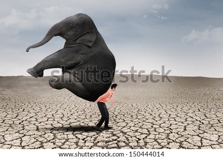 Businessman lifting big elephant on dry ground - leadership concept
