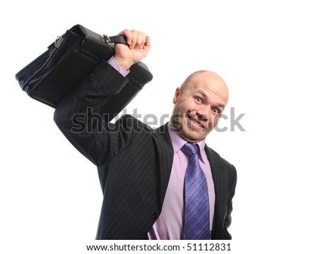 Businessman lifts a heavy portfolio. Isolated on white background