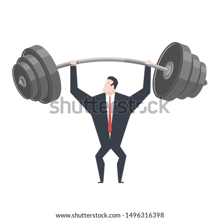 Businessman lifts weights. Boss is weightlifter. office life.
