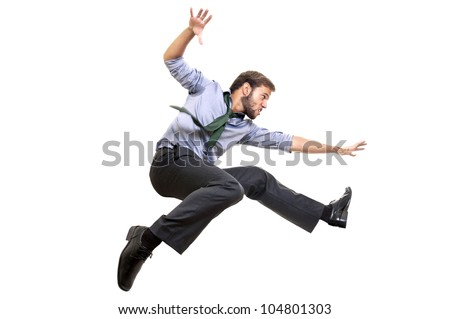 Businessman long-jumping isolated in white