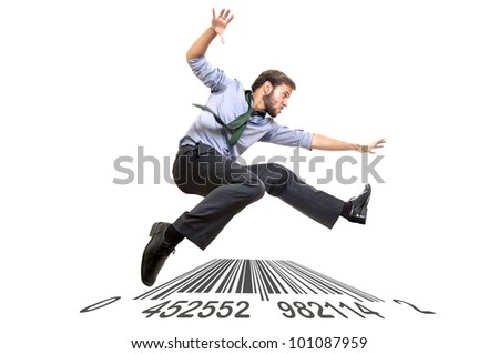 Businessman long-jumping over a code bar isolated in white